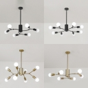 Black/Gold Snowflake Pendant Light 6/8 Lights Metal Chandelier for Dining Room Bedroom