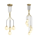 Led Glass Shade Chandelier 4/7 Light Gold Finish Globe Ceiling Fixture for Bedroom