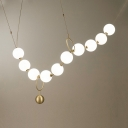 Opal Glass Necklace Shaped Chandelier 10 Lights Creative Pendant Lamp in White for Restaurant