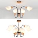 Opal Glass Horn Chandelier Study Room 3 Lights Modern Stylish Pendant Light in White&Beige