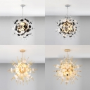 Restaurant Globe Suspension Light with Circle Panel Metal Contemporary Black/Gold Chandelier