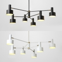 Metal 6 Light Trapezoid Chandelier Modern Matte Black/White Finish Flush Mount Lighting