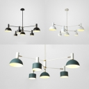 6 Light Led Lighting Contemporary Metal Downlighting Chandelier for Bedroom in Black/White/Green Finish