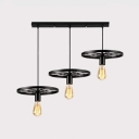 Vintage Open Bulb Pendant Lamp with Wheel Three Lights Iron Hanging Light in Black for Shop