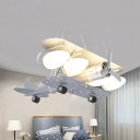 Metal Propeller Airplane Hanging Light Child Bedroom 3/5 Heads Modern Creative Pendant Light in Silver