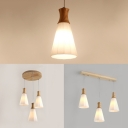 Japanese Style Cone Pendant Light Opal Glass 1/3 Lights White Hanging Light for Restaurant Balcony