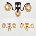 Three Lights Bud Semi Flush Mount Light Modern Glass Ceiling Light in Black/Gold/Silver for Study Room
