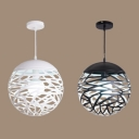 Contemporary Black/White Hanging Light Etched Globe One Light Iron Pendant Light for Hallway