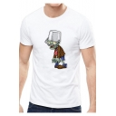 Summer Funny Cartoon Comic Character Pattern Round Neck Short Sleeve White Tee