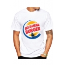 Big Kahuna Burger Letter Figure Printed Round Neck Short Sleeve White T-Shirt