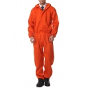 Orange Solid Color Hooded Long Sleeve Elastic Waist Zipper Front Workwear Mechanic Coveralls