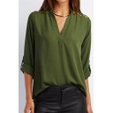 Hot Popular Simple Plain V-Neck Crisscross Cutout Shoulder Long Sleeve Casual Chiffon Blouse Top