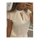 Fashion Cutout Front Stand Collar Lace Patched Chiffon Blouse Top
