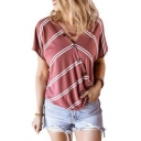 Trendy Striped Printed Batwing Sleeve Oblique Button Front Casual Loose Tee