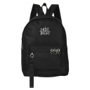 Popular Letter NOT TODAY Printed Metal Ring Embellishment Canvas School Bag Backpack 29*13*45 CM