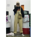 Basic Simple Rolled Cuff Casual Straight Unisex Bib Overalls Jumpsuits