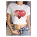 Summer Cool Unique Chain Heart Printed Round Neck Short Sleeve White Fitted Crop T-Shirt