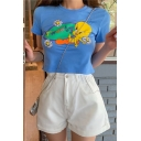 Summer Lovely Cartoon Letter TWOOTY Print Round Neck Short Sleeve Cropped Blue T-Shirt