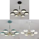 Modern Round Chandelier 6 Lights Acrylic Warm Lighting Pendant Light in Black/White/Green for Bedroom