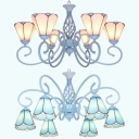 Glass Cone Shade Chandelier Dining Room Hotel 6 Lights Tiffany Style Pendant Lamp in Blue/White