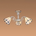 White Cone Shade Suspension Light 3 Lights Tiffany Style Chandelier for Study Room Hallway