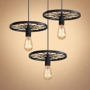 Industrial Open Bulb Pendant Light with Wheel Metal 3 Lights Black Hanging Lamp for Bar
