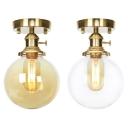 Amber/Clear Glass Globe Flush Mount Light Bathroom 1 Light Traditional Ceiling Light in Brass