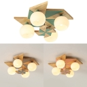 Cute Globe Flush Mount Light with Windmill 4 Lights Wood Ceiling Lamp in Gray/Green/Pink for Child Bedroom