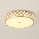 Modern Drum LED Flush Mount Light Acrylic Third Gear Ceiling Light with Crystal Decoration for Study Room