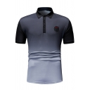 Stylish Men's Print Chest Three Buttons Lapel Collar Short Sleeve Ombre Color Fitted Polo Shirt