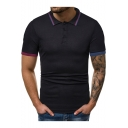 New Fashion Men's Plain Three-Button Contrast Trim Lapel Collar Short Sleeve Fitted Polo Shirt