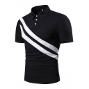 New Stylish Colorblocked Striped Three-Button Lapel Collar Short Sleeve Slim Fit Polo for Men