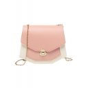 Trendy Color Block Crossbody Bag with Chain Strap for Women 19.5*5.5*16 CM