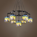 Multi-Color House Shade Chandelier 7 Lights Tiffany Style Antique Glass Ceiling Light for Shop