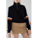Women's Cool Half-Zip Front High Neck Rainbow Striped Print Long Sleeve Black Loose Fit Sweatshirt