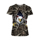 Summer New Trendy Round Neck Short Sleeve 3D Eagle Flag Print Loose Brown T-Shirt