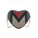 Trendy Color Block Patched Heart Shape Crossbody Bag with Chain Strap 19*9*16 CM