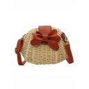 Summer Fashion Color Block Bow Embellishment Round Straw Crossbody Beach Bag 19*10*16 CM
