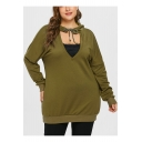 New Stylish Women's Tie Hood Cut Out V-Neck Long Sleeve Army Green Loose Fit Bandeau Hoodie