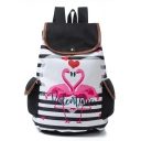Stylish Letter Stripe Flamingo Printed Black Drawstring Backpack with Side Pockets 28*11*39 CM