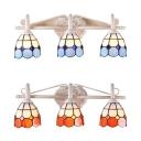 Blue/Orange Dome Wall Light 3 Lights Mediterranean Style Glass Sconce Light for Bedroom