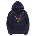 New Trendy Floral Skull Printed Long Sleeve Pullover Hoodie with Pocket