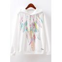 Women's New Stylish Feather Necklace Print Drawstring Hood Long Sleeve White Loose Fit Hoodie