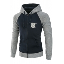 Men's New Shield and Sword Logo Print Colorblock Long Sleeve Zip Up Slim Fit Drawstring Hoodie