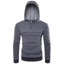 Men's New Fashion Simple Plain Long Sleeve Pocket Detail Zip Up Hoodie