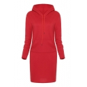 Fashion Solid Color Drawstring Hood Long Sleeve Pocket Midi Sweatshirt Dress