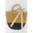 Fashion Color Block Bow Tied Straw Shoulder Beach Bag 21*2*28 CM