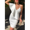 Womens Summer New Fashionable Simple Plain V-Neck Ruffled Hem Mini White Pencil Dress