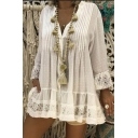 Fashion Solid Embossing Lace Patched V Neck Long Sleeve Ruffle Oversized Mini A-line Dress