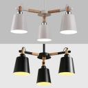 Modern White/Black Chandelier Bucket 3 Lights Wood Pendant Light for Child Bedroom